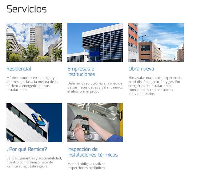 Nueva sección servicios Remica web